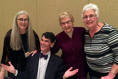From left to right: Susan Freeman, Director of Public Relations Rhine Research Center, Eben Alexander M.D., Sally Rhine-Feather, Executive Director Emeritus at the Rhine, Kathe Martin. Durham Convention Center, Durham, NC, February 28, 2015