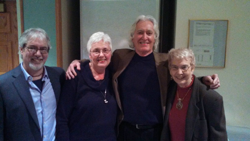 From left to right: John Kruth, Executive Director The Rhine Research Center, Kathe Martin, Larry Dossey M.D., Sally Rhine-Feather, Executive Director Emeritus at the Rhine.