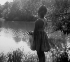 Kathe fishing at Valley Ridge Farm, circa 1956.
